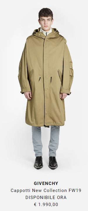 cappotto lungo alta moda Givenchy