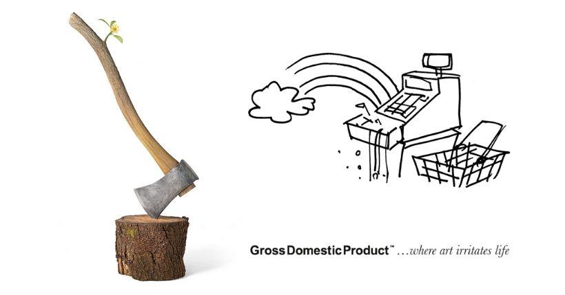 come funziona Gross Domestic Product, negozio di Bansky