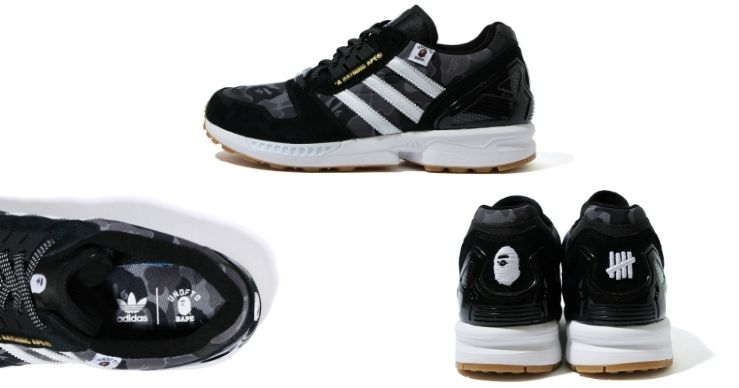 Bape x Undefeated x Adidas ZX 8000 sneakers nere